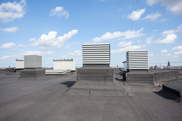 HVAC units attached to a commercial modified bitumen roofing.