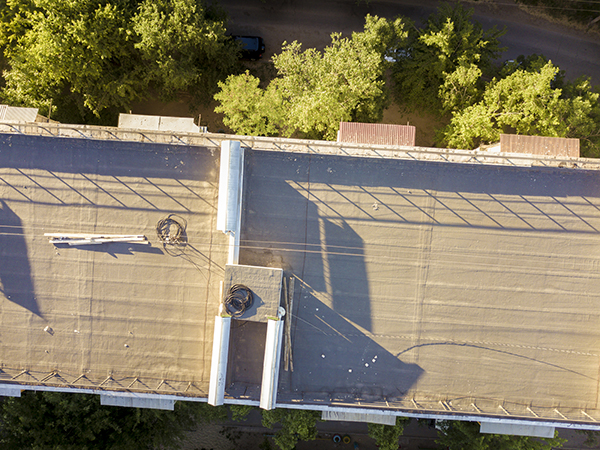 aerial shot of a TPO roofing