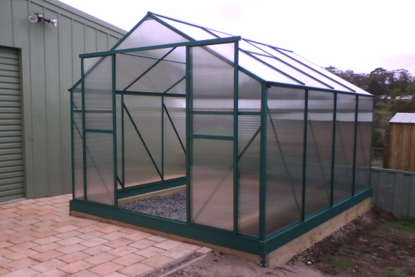 a small polycarbonate greenhouse