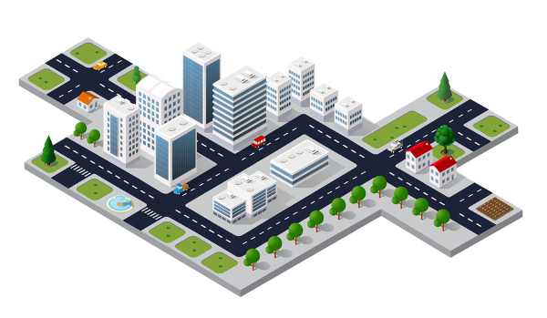 3d image of buildings with white roofs
